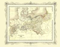 H Collins Map of Prussia 1852: Colour Photographic Print of Map of Prussia 1852 (Sheet map, flat)