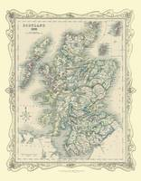 H Collins Map of Scotland 1852: Colour Photogaphic Print of Map of Scotland 1852 (Sheet map, flat)