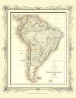 H Collins Map of South America 1852: Colour Photographic Print of Map of South America 1852 (Sheet map, flat)