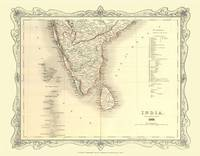 H Collins Map of Southern India 1852: Colour Photographic Print of Map of Southern India 1852 (Sheet map, flat)