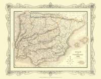 H Collins Map of Spain and Portugal 1852: Colour Photographic Print of Spain and Portugal 1852 (Sheet map, flat)