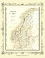 H Collins Map of Sweden 1852: Colour Photographic Print of Map of Sweden 1852 (Sheet map, flat)