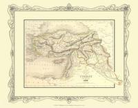 H Collins Map of Turkey in Asia 1852: Colour Photographic Print of Map of Turkey in Asia 1852 (Sheet map, flat)
