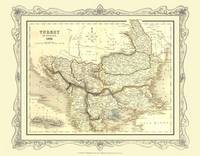 H Collins Map of Turkey in Europe 1852: Colour Photographic Print of Map of Turkey in Europe 1852 (Sheet map, flat)