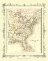 H Collins Map of United States 1852: Colour Photographic Print of Map of United States 1852 (Sheet map, flat)