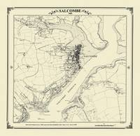 Salcombe 1885 Map - Heritage Cartography Victorian Town Map Series (Sheet map, folded)