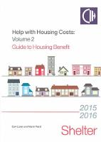 Help With Housing Costs Volume 2: Guide to Housing Benefit 2015/2016 (Paperback)