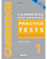 CAMBRIDGE FC PRACTICE TESTS 1REVIDED ED STUDENT BOOK (Paperback)