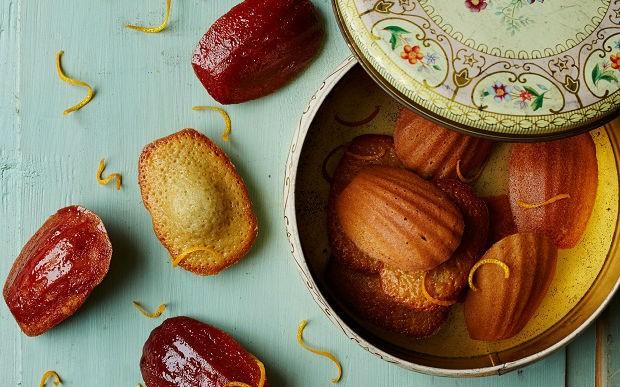 Orange and hibiscus madeleines