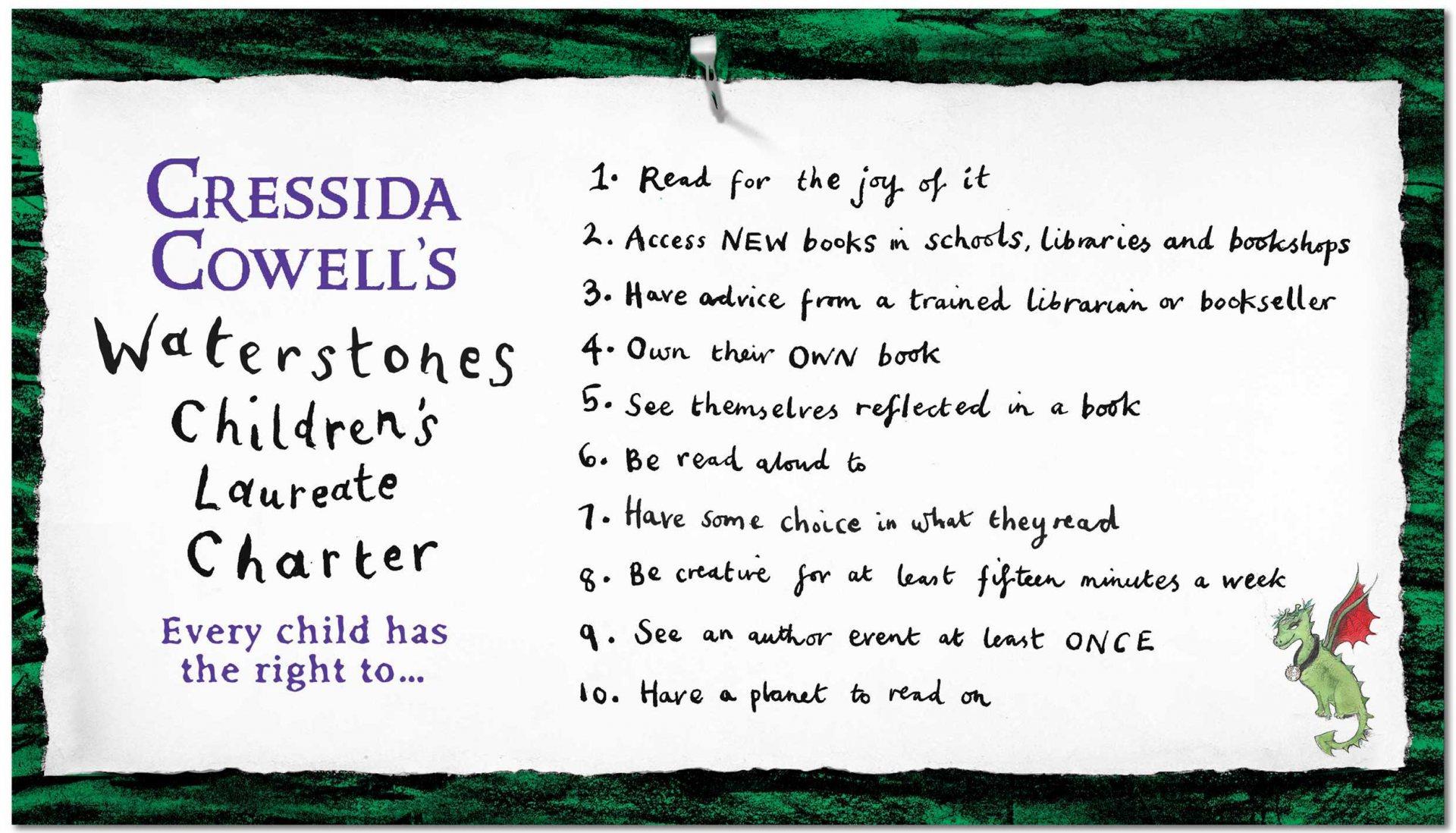 Cressida Cowell's Waterstones Children's Laureate Charter
