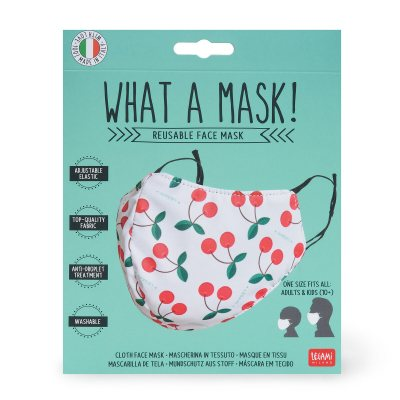 Reusable Cherry Print White Face Mask Waterstones