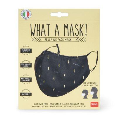 Reusable lightning bolt print black face mask