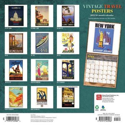 2022 Vintage Travel Posters Wall Calendar (Calendar)