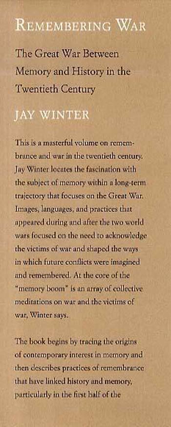 Remembering War: The Great War between Memory and History in the 20th Century (Hardback)