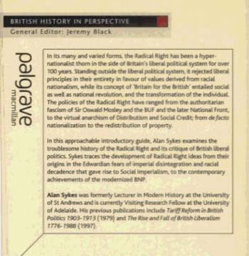 The Radical Right in Britain: Social Imperialism to the BNP - British History in Perspective (Paperback)