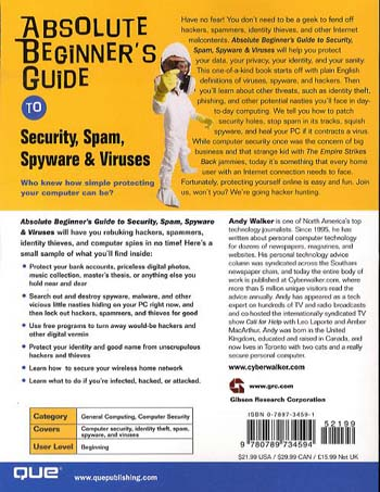 Absolute Beginner's Guide to Security, Spam, Spyware & Viruses (Paperback)