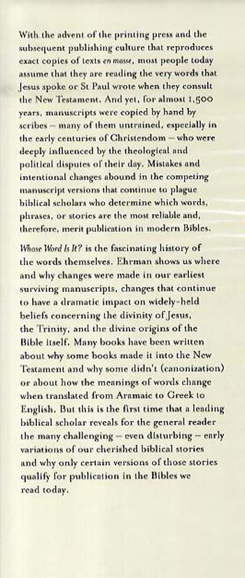 Whose Word is It?: The Story Behind Who Changed the New Testament and Why (Hardback)