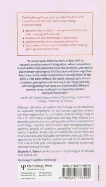 Attention, Perception and Memory: An Integrated Introduction (Paperback)
