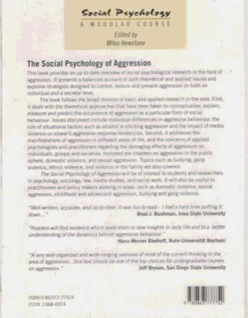 The Social Psychology of Aggression - Social Psychology: A Modular Course (Hardback)