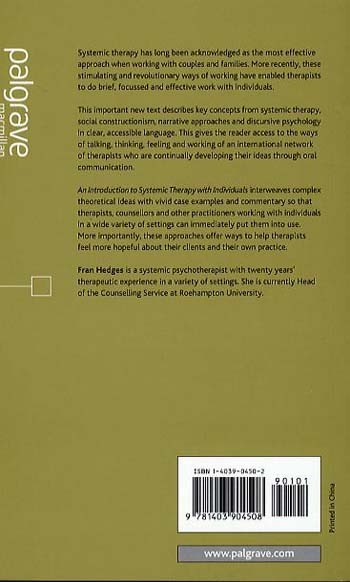 An Introduction to Systemic Therapy with Individuals: A Social Constructionist Approach - Basic Texts in Counselling and Psychotherapy (Paperback)