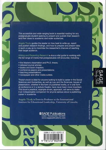 Writing and Presenting Research - Sage Study Skills Series (Paperback)
