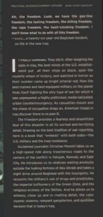 The Freedom: Shadows and Hallucinations in Occupied Iraq (Hardback)