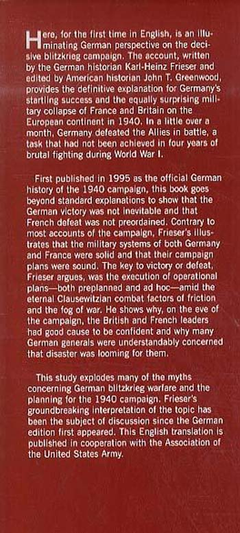 The Blitzkrieg Legend: The Campaign in the West, 1940 (Hardback)