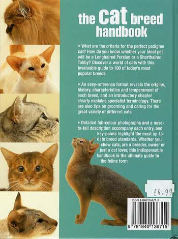 Cat Breed Handbook: The Complete Reference from Abyssinians to Siamese (Hardback)