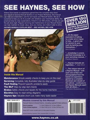 Renault Scenic Petrol and Diesel Service and Repair Manual: 2003 to 2006 - Haynes Service and Repair Manuals (Hardback)