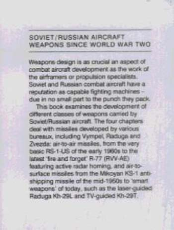 Soviet/Russian Aircraft Weapons: Since World War Two (Hardback)