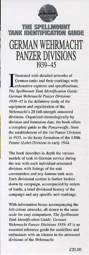 German Wehrmacht Panzer Divisions 1939-45 - Spellmount Tank Identification Guides (Hardback)