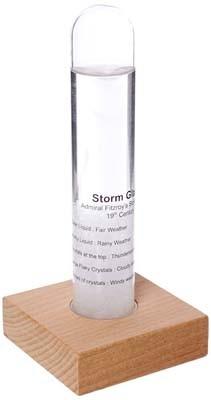 Storm Glass Tube With Beechwood Base