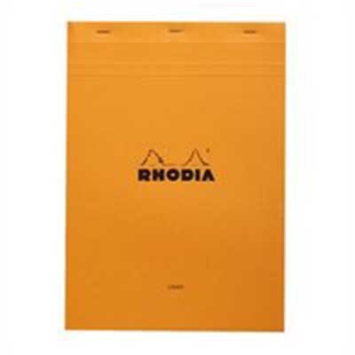Rhodia Orange Head Stapled Pad A4  Lined + Margin