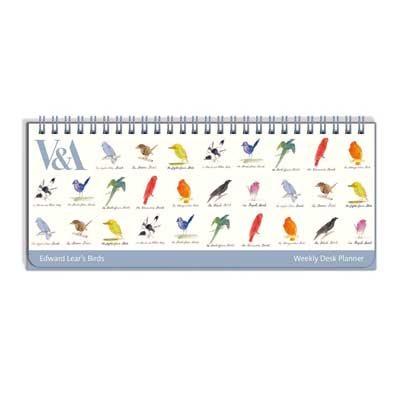 Edward Lear Birds Weekly Desk Planner