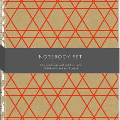 A5 Kraft Geo Set Of 3 Exercise Books: Lined, Plain, Graph