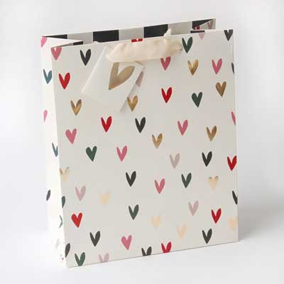 Scattered Coloured Hearts Gift Bag