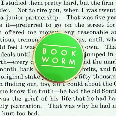 Book Worm Green Pin Badge