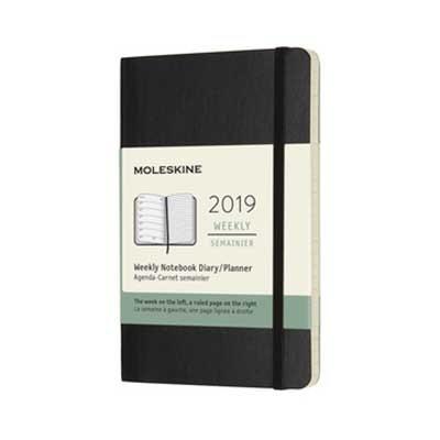Black Weekly Soft Pocket Diary 2019 (Diary)