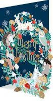 Blue Wreath Lasercut Christmas Card
