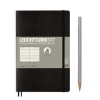 Black Paperback B6+ Ruled Notebook Softcover
