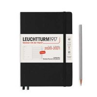BLACK HARDCOVER MEDIUM 18M WEEKLY PLANNER AND NOTEBOOK DIARY 2020-2021