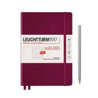 PORT RED HARDCOVER MEDIUM 18MWEEKLY PLANNER AND NOTEBOOK DIARY 2020-2021