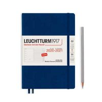 NAVY HARDCOVER MEDIUM 18M WEEKLY PLANNER AND NOTEBOOK DIARY 2020-2021