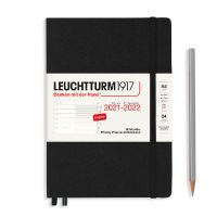 Black 18M A5 Weekly Planner & Notebook Diary 2021-2022