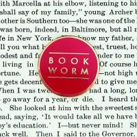 Book Worm Red Pin Badge