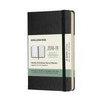 Black Weekly Hard Pocket Diary 2018-2019