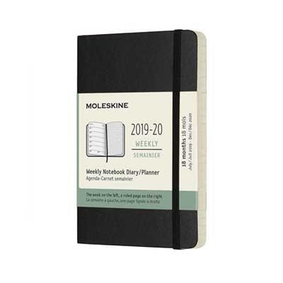 Black Weekly Soft Pocket Diary 2019-2020