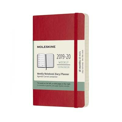Scarlet Red Weekly Soft  Pocket Diary 2019-2020