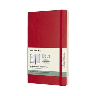 Scarlet Red Weekly Soft Large Diary 2019-2020
