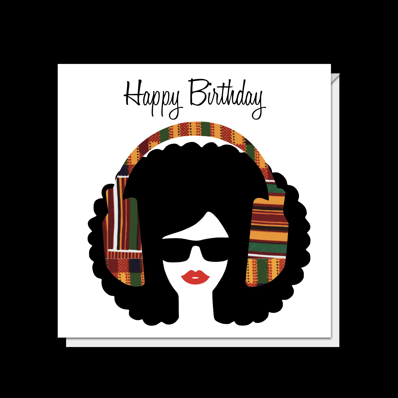 Afro Lips Girl & Headphones Card
